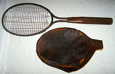 Antique circa 1920's Dayton STEEL TENNIS RACKET & Rare Old ORIGINAL COVER !