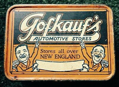1920s GOFKAUF'S AUTOMOTIVE STORES TIN CAN, AUTO LIGHT BULB METAL BOX, VINTAGE