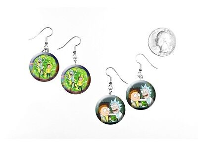 Rick and Morty Adult Swim TV Show Comedy Sci-Fi 2 Pairs of Charm Earrings