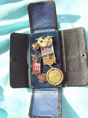 Scarce Original Past Post Commander Spanish War Veteran Officer Medal Grouping