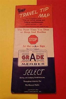 """RARE VINTAGE 1960's """"GRADE A MEMBER"""" FOLD MAP CENTRAL & EAST UNITED STATES"""