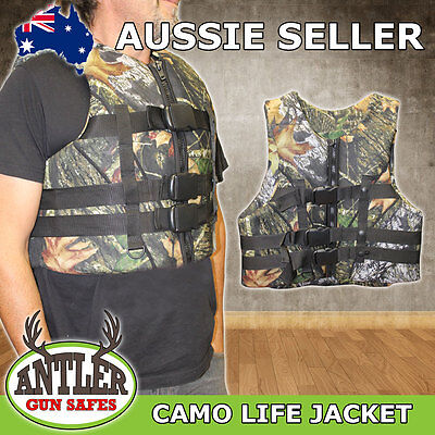 Neoprene Camo Life Jacket Vest Ideal For Hunting, Duck Shooting, Boats Outdoors