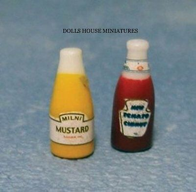 Ketchup & Mustard,  Food & Drink Doll House Miniature Accessories, 1:12 Scale