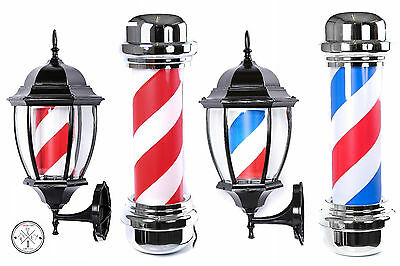 Barber Pole Classic And Lantern Illuminating Rotating In White Red Blue