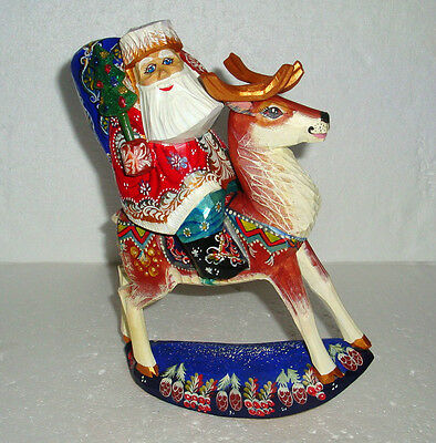UNIQUE RIDING REINDEER FATHER FROST~Russian SANTA CLAUS~Handcarved~WOOD