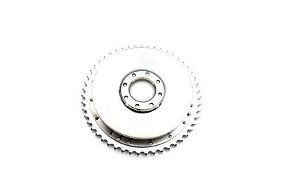 Chrome rear brake drum includes sprocket riveted on, replaces OEM No: 41401-52