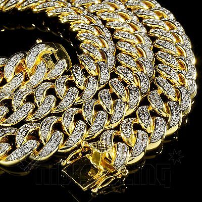18K Gold Lab Diamond Cuban Chain Link Micropave Miami Rose Iced Out Men Necklace