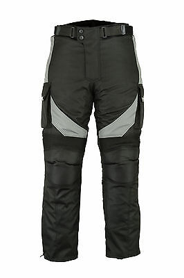 Motorbike Motorcycle Grey Textile Trousers Pants Sports Waterproof CE Armoured