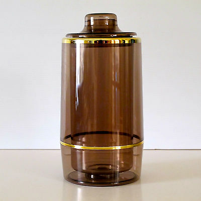 Shakool 1970s Cocktail Shaker & Bottle Cooler in Smoked Brown Acrylic & Gilt