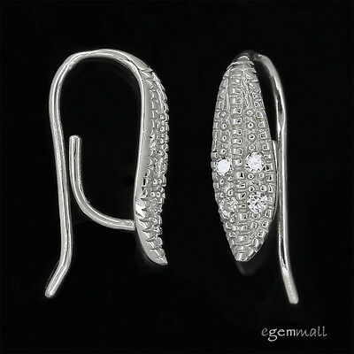 Sterling Silver CZ Leaf Earring Hook Connector Ear Wire #99328