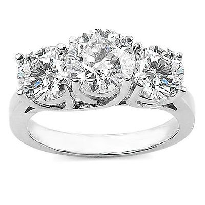 3 Cts D Color Three Stone Engagement Wedding Bridal Ring In Solid 14K White Gold