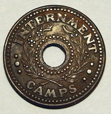Internment Camp Token - WWII - 1 Penny - Very Fine Condition - Scarce