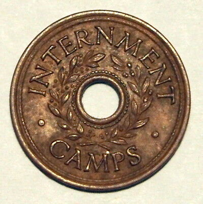 Internment Camp Token - WWII - Three Pence - Virtually Extremely Fine Condition