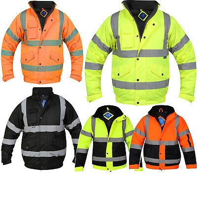 Hi Viz Visibilty Bomber Reflective Contractor Security Work Men's Jacket