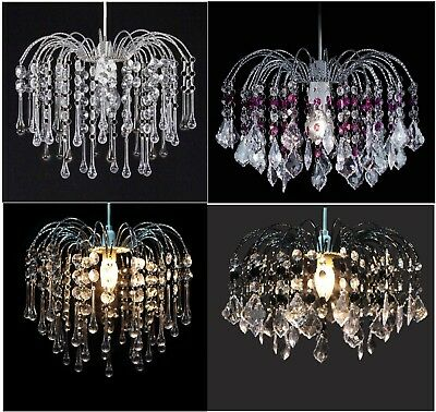 Acrylic Crystal Bead Chandelier Style Modern Ceiling Light Shade Droplet Pendant