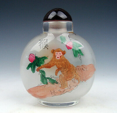 Peking Glass Inside Zodiac Sign Monkey Reverse Hand Painted LARGE Snuff Bottle