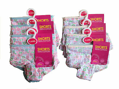 Girl's 6 Pairs Of 100% Cotton Boxer Shorts/knickers Briefs 5-6 7-8 9-10 11-12Yrs
