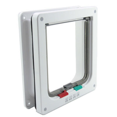 Pet Cat Small Dog Door Flap White Frame 4 Way Locking Lockable