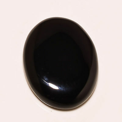 HUGE 40x30mm OVAL CABOCHON-CUT NATURAL AFRICAN JET-BLACK ONYX GEMSTONE