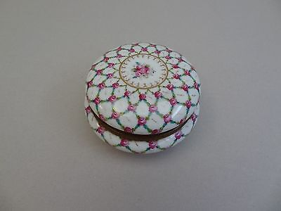 Round Porcelain box Jewel box Potschappel Roses decoration in old Sevres style