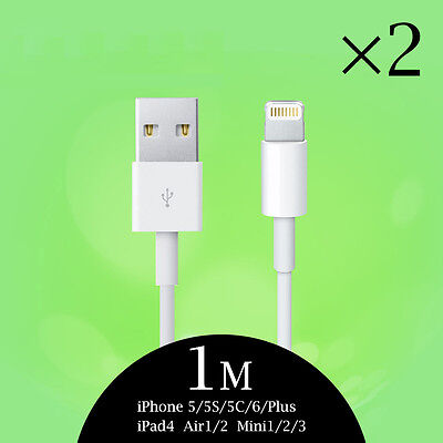 2X Original Genuine Apple iPhone 6s 7 Plus 5S C SE Charger Lightning Data Cable