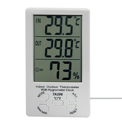 LCD Digital Indoor Wired Temperature Meter Thermometer Hygrometer Humidity Clock