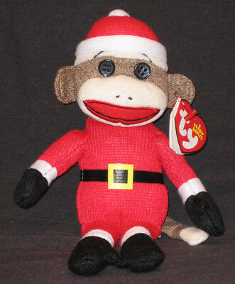 TY SOCK MONKEY SANTA BEANIE BABY - MINT with MINT TAGS