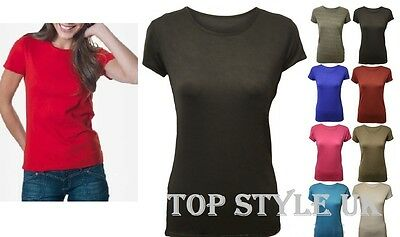 Ladies Girls 100% Cotton Cap Sleeve Plain Stretch Fitted  Basic T-Shirt