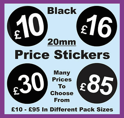 20mm Black Shop Price Point Stickers / Sticky / Swing Tag Labels £10 to £95 POS