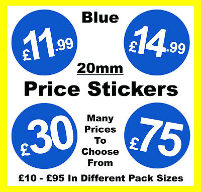 20mm Blue Shop Price Point Stickers / Sticky / Swing Tag Labels £10 to £95 POS