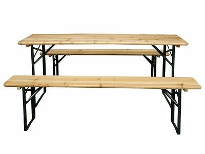 Garden Furniture Wooden Seat Folding Trestle Bench Picnic Camping Dining Table
