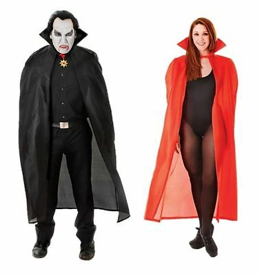 Adult Unisex Cape Dracula Halloween Fancy Dress Costume Cloak Black Red 56""