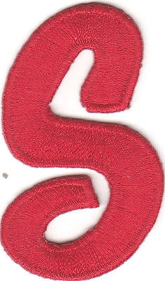"""SCRIPT LETTERS - Red Script  2"""" Letter """"S"""" - Iron On Embroidered Applique"""