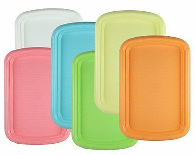 Set of 6 Colors - Durable Plastic Rectangular Serving Fast Food - Lunch Tray