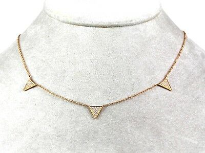 14k Rose  Gold Triangle Diamond Necklace ( Dia  0.23cts)
