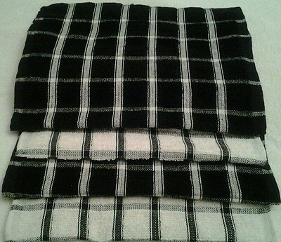 4 Black And White Checked Terry Towelling Extra Absorbant  Tea Towels