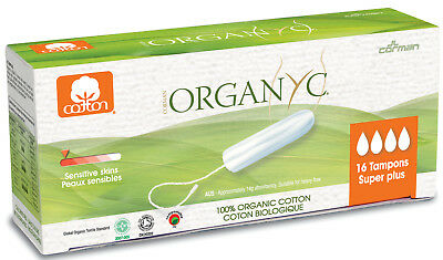 Organyc Tampon Super Plus 16pcs 100% Organic Cotton FREE P&P