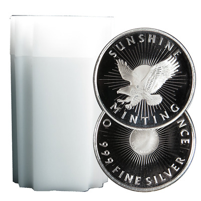 Lot of 20 - 1 Troy oz Sunshine Minting .999 Fine Silver Round Mint Mark SI