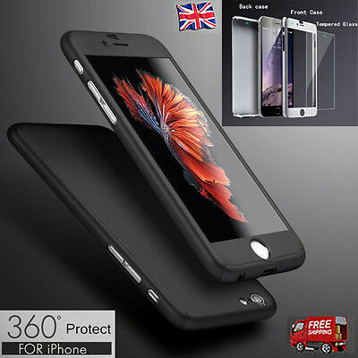 Hybrid 360° Tempered Glass + Acrylic Hard Case Cover For iPhone 6 7 6s 7 Plus 5s