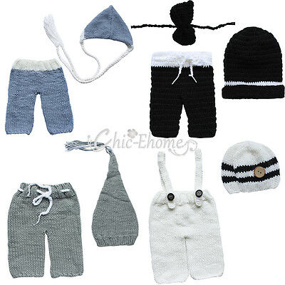 Newborn Baby Girl Boy Crochet Knit Costume Photo Photography Prop Outfit Hat Cap