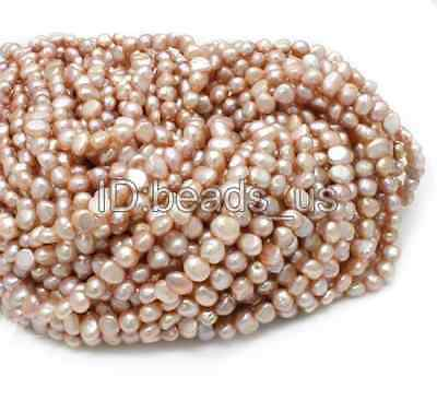 """Wholesale Pink  Natural Potato Cultured Freshwater Pearl Beads 6-7mm 15"""""""