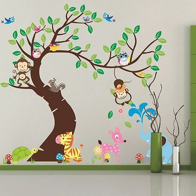 Monkey Owl Birds Tree Removable Wall Stickers Vinyl Home Decal Decor Kids Room