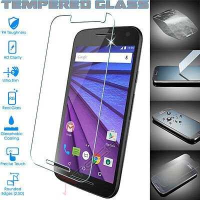 Genuine TEMPERED GLASS Invisible Screen Protector Motorola Moto G 3 (3rd Gen)