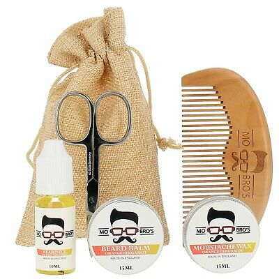 Mo Bro's Orange Grooming Kit- Moustache Wax, Beard Balm, Oil, Comb, Gift Bag