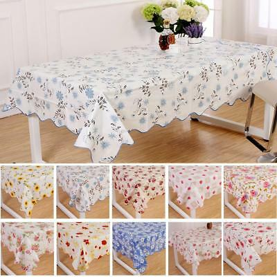 Wipe Clean PVC Vinyl Tablecloth Dining Kitchen flower Table Cover Protector