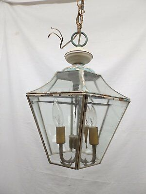 Vintage Copper Porch Ceiling Light Fixture Beveled Glass Panels Old 4813-15
