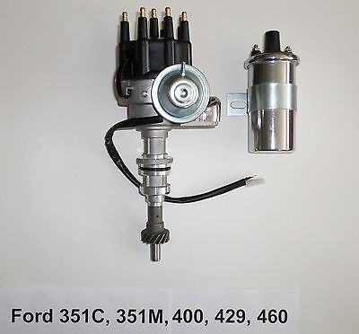 FORD 351C 429 460 SMALL CAP BLACK HEI DISTRIBUTOR 8.5mm PLUG WIRES CHROME COIL