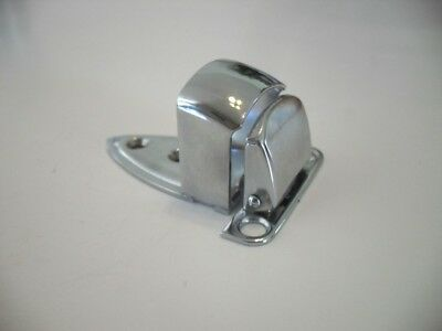 Vtg NOS CHROME Cupboard Cabinet Door Finger Pull Tilt Latch Catch Spring Loaded