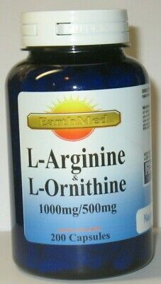 L-Arginine and L-Ornithine 1000mg/500mg serving 200 Capsules Made in USA