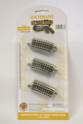 """44833 Bachmann N Scale E-Z Track QUARTER SECTION 14"""" RADIUS CURVED TRACK 6/card"""